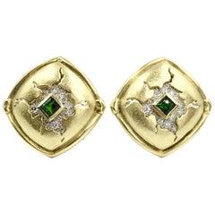 Seidengang 18 Karat and Platinum Diamond and Chrome Tourmaline Button Earrings