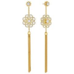 Cadar Trio Earrings, 18 Karat Yellow Gold and White Diamonds