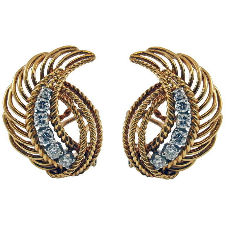 1950s Retro Diamond Gold Platinum Earclips
