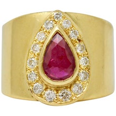 Natural Pear shape Ruby and White Diamond Cocktail Ring in 18 Karat Yellow Gold