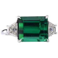 5.95 Carat Chrome Tourmaline Platinum East-West Three-Stone Ring with Diamonds