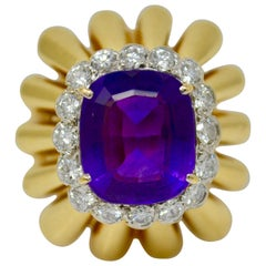 9 Carat Natural Amethyst and Diamond Ring in 18 Karat Yellow Gold