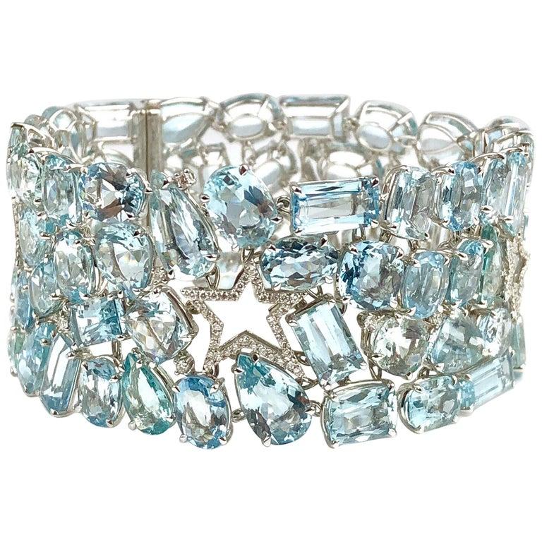 111.28 Carat Aquamarine and 0.94 Carat Diamond Bracelet in 18 Karat White Gold For Sale