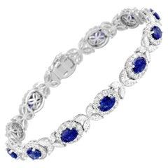 8.14 Carat Oval Cut Vivid Blue Sapphire and 6.95 Carat Diamond Bracelet