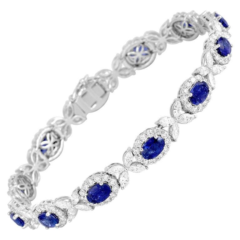 8.14 Carat Oval Cut Vivid Blue Sapphire and 6.95 Carat Diamond Bracelet For Sale