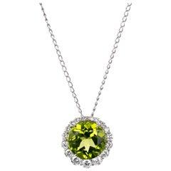 3.00 Carat Round Peridot Diamond Halo White Gold Pendant Necklace