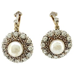 Late Victorian Diamond, Pearl Antique Earrings 18 Karat Gold and Sterling Silver