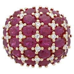Estate 18 Karat Yellow Gold Ruby and Diamond Ring