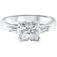 1.44 Carat Princess Cut Diamond Three-Stone Engagement Ring