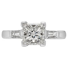 1.44 Carat Princess Cut Diamond Three-Stone Engagement Ring