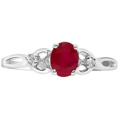 Oval Ruby and White Diamond Ring
