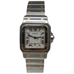 Cartier 1566 Santos 18 Karat Yellow Gold and Stainless Steel Box and Papers