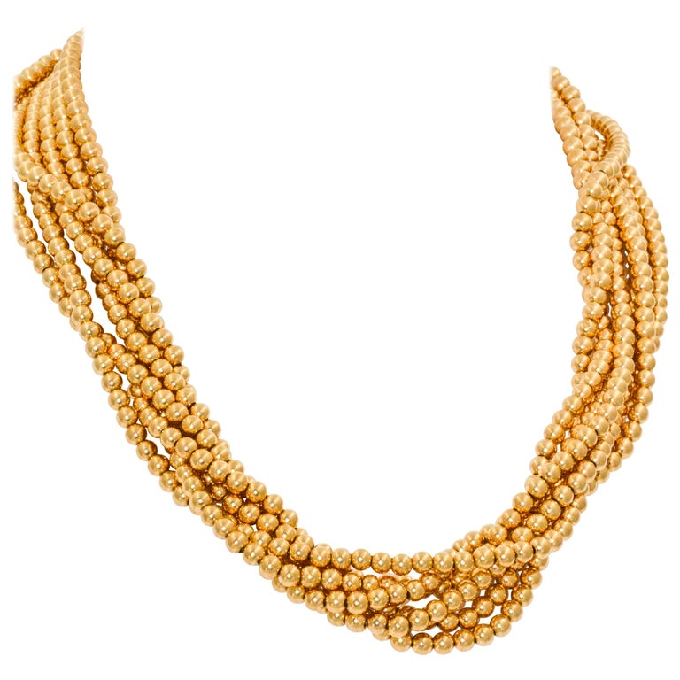 6 Strands 14 Karat Yellow Gold Beads Necklace