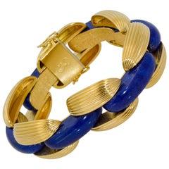 18 Karat Yellow Gold Link Lapis Lazuli Bracelet