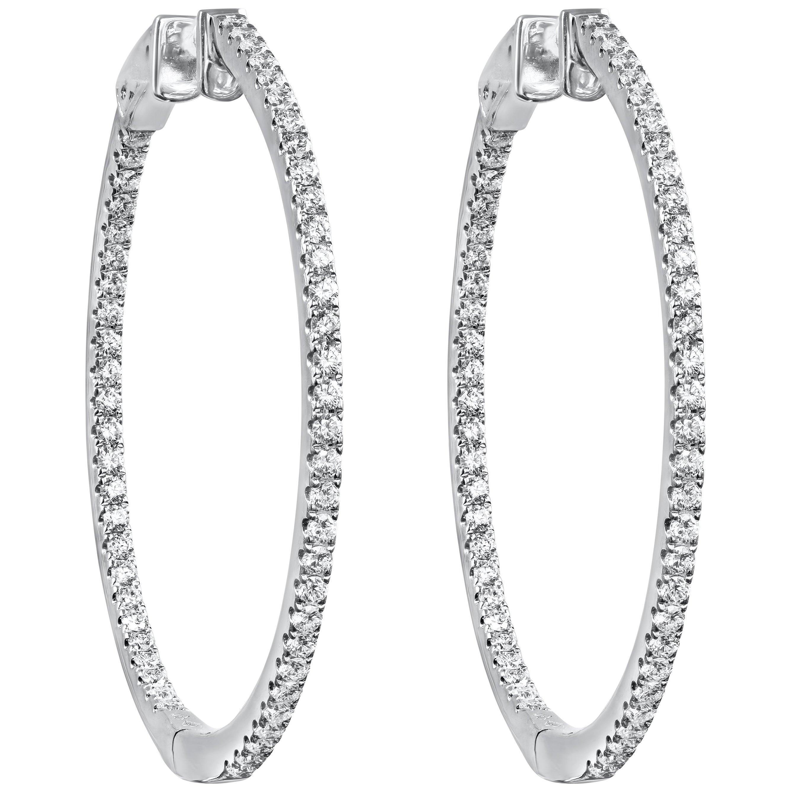 Roman Malakov, 1.51 Carat Round Diamond Pave Hoop Earrings