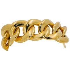 Italian 18 Karat Yellow Gold Hollow Curb Link Bracelet