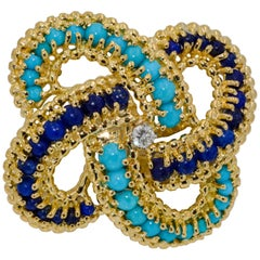 18 Karat Yellow Gold Turquoise and Lapis Lazuli Pin
