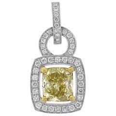 Fancy Yellow GIA Certified Cushion Cut Diamond Pendant