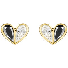 Cadar Unconditional Love Stud Earring, 18K Yellow Gold, Black and White Diamonds
