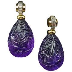 Art Deco Carved Amethyst Baguette Diamond Drop Earrings