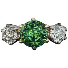 Rare Russian Demantoid Diamond Three-Stone Ring