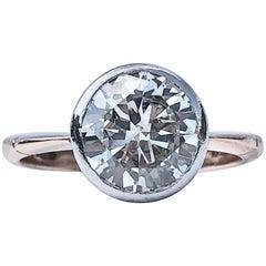 Round Brilliant Bezel Collet Set White Diamond Engagement 18k Yellow Gold Ring
