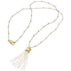 Vermeil Beaded Chain Necklace with Genuine Akoya Pearl Tassel Drop