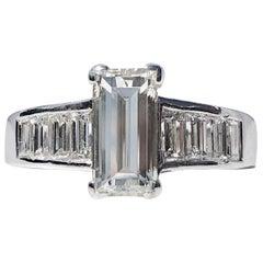 Step Emerald Cut White Diamond Engagement Baguette Shoulders J VS 1.60 TW Ring