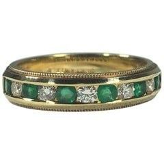 Armandi 18 Karat Yellow Gold Diamonds and Emeralds Stacking Band