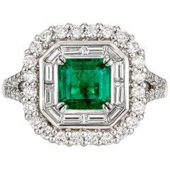 2.40 Carat Emerald Cut Emerald 0.746 Carat Diamonds Cocktail Ring
