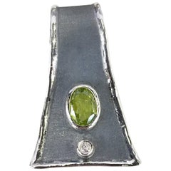 Yianni Creations 1.35 Carat Peridot and Diamond Fine Silver and Rhodium Pendant