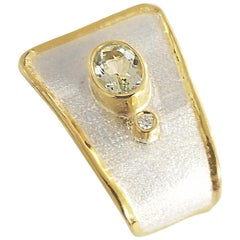 Yianni Creations 1.75 Carat Aquamarine Diamond Fine Silver 24 Karat Gold Pendant