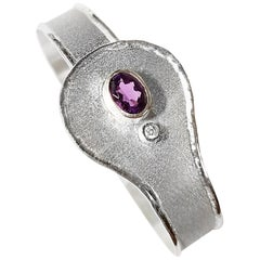 Yianni Creations 1.75 Carat Amethyst Diamond Fine Silver Palladium Bracelet