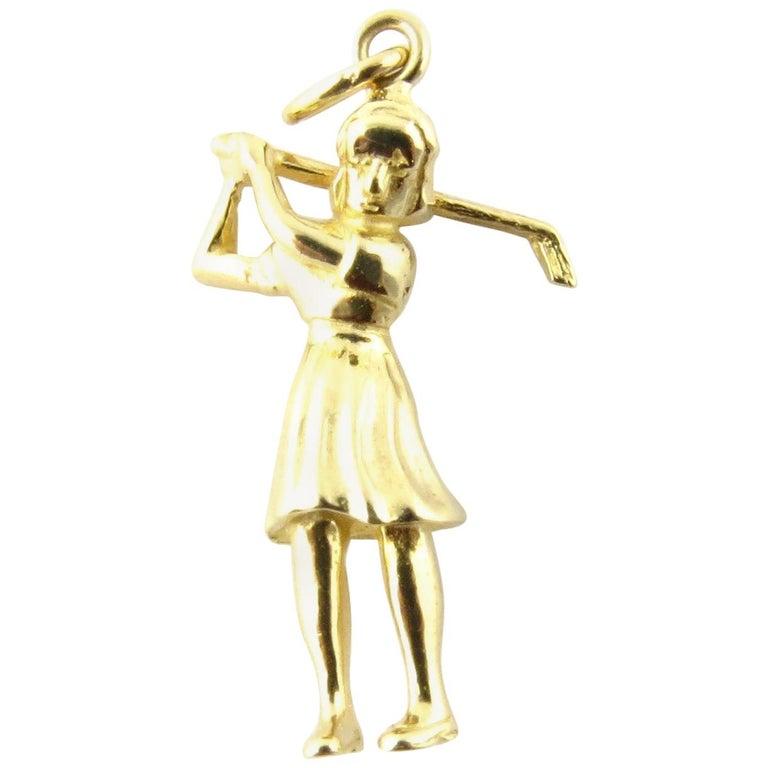 14 Karat Yellow Gold Golfer Charm