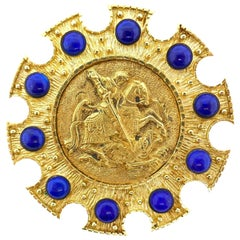 Cartier Saint George 18 Karat Yellow Gold and Lapis Pendant or Brooch