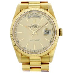 Certified Rolex Day-Date 18238 with Band and Gold Dial