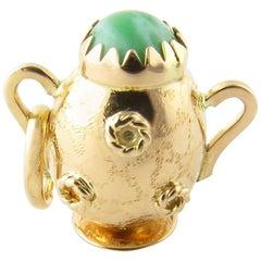 14 Karat Yellow Gold and Jade Vase Charm