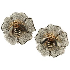 Diamonds Onyx Stones White and Rose Gold Flower-Bee Clip-On Earrings