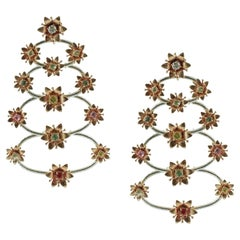 Diamonds Multi-Color Sapphires Rose and White Gold Floral Theme Earrings