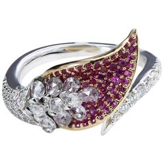 Studio Rêves 18 Karat Gold, Rose Cut Diamonds and Pink Sapphire Ring