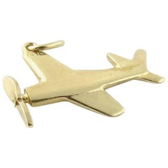 14 Karat Yellow Gold Plane Jet Pendant with Spinning Propeller