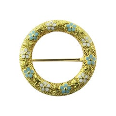 14 Karat Yellow Gold Floral Wreath Brooch