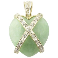 14 Karat Yellow Gold and Diamond Green Marble Heart Pendant