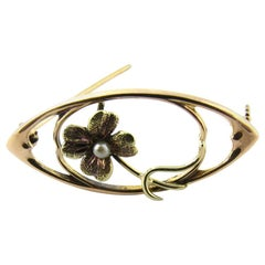 14 Karat Yellow Gold Seed Pearl Brooch