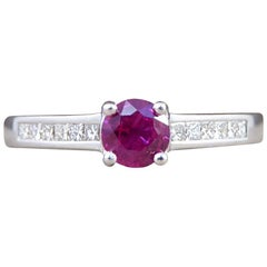 Ruby Ring with Diamond Set Shoulders in 18 Carat White Gold