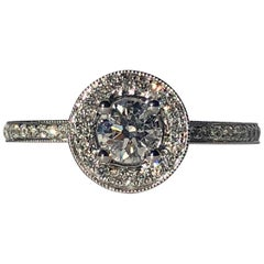 Halo Round Brilliant Cut Diamond Engagement 18k White Gold .90ct TW Ring