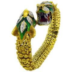 Original Italian Early 1960s Diamond Ruby Enamel Dragon Shaped Snake Bracelet