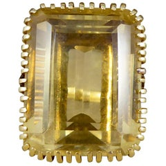 Large Citrene and Diamond Vintage 18 Carat Gold Ring