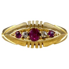Late Victorian Ruby and Diamond Five-Stone 18 Carat Gold Ring