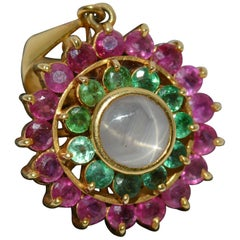 Star Sapphire Emerald and Ruby 18 Carat Gold Pendant